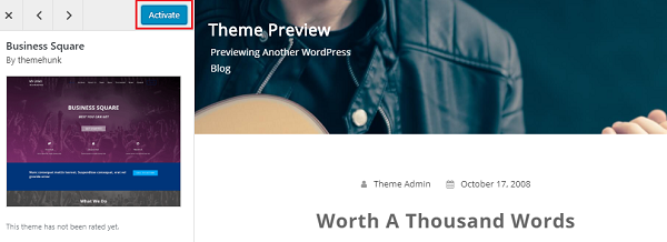 Activate WordPress Theme
