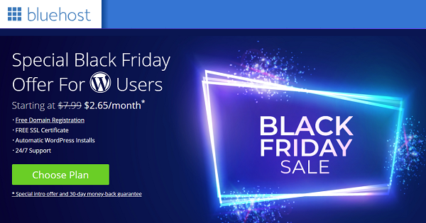 BlueHost Black Friday 2021 Deals → Up to 70% OFF + Free Domain Name