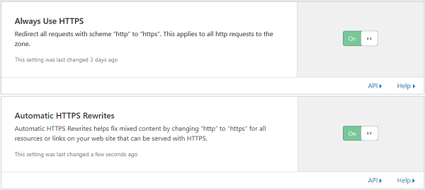 Automatic Use HTTPS and HTTPS Rewrites