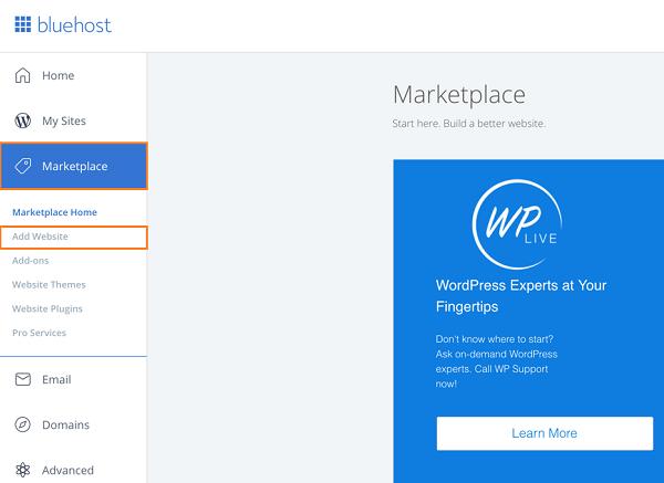 BlueHost Marketplace - Add Website