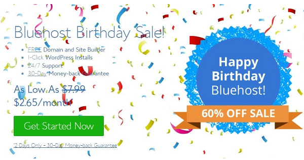 BlueHost Birthday Sale 2021 → Get 67% OFF + Free Domain Name