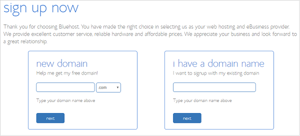 Choose a Free Domain Name - BlueHost Hosting