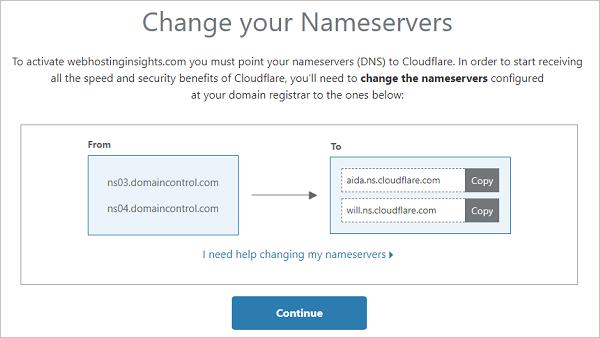 Cloudflare Nameservers - Change your Nameservers