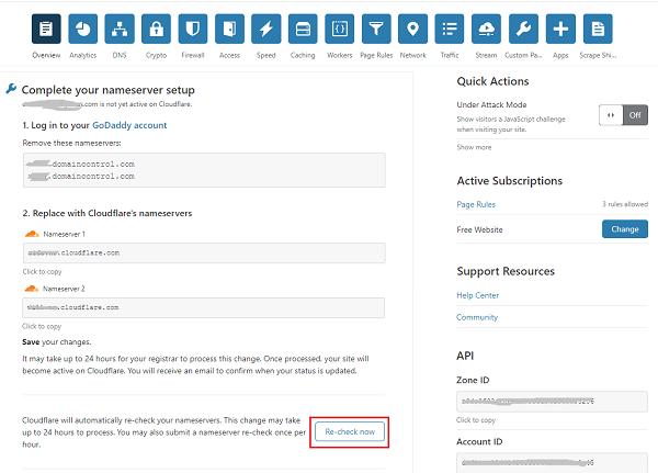 Cloudflare Nameservers - Recheck Now