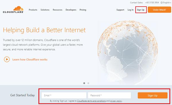 Cloudflare Website - Free SSL Certificate