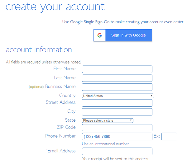 Create your account with BlueHost Web Hosting