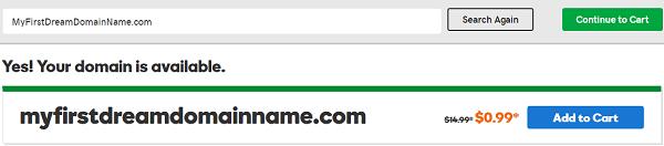 GoDaddy .COM Domain Name at 99 Cents