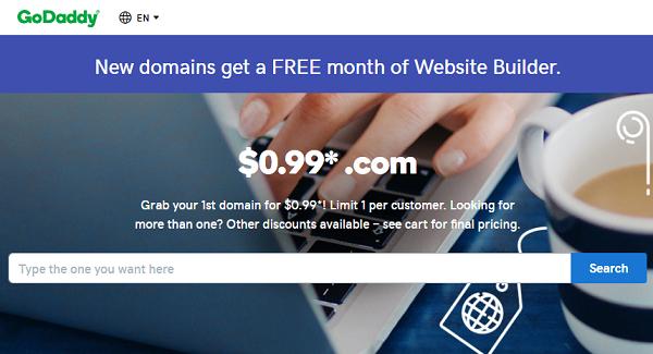 GoDaddy 99 Cents Domain → Get GoDaddy .COM Domain at $0.99