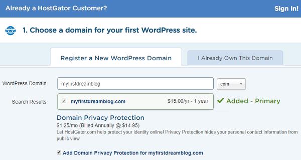 HostGator Hosting - Search Domain Name
