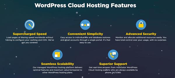 HostGator WordPress Cloud Hosting Features
