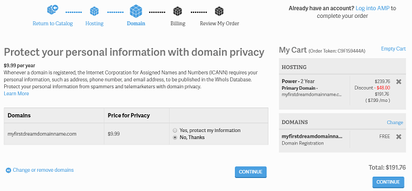 InMotion Shared Hosting Domain Privacy