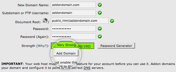 SiteGround Addon Domain Form