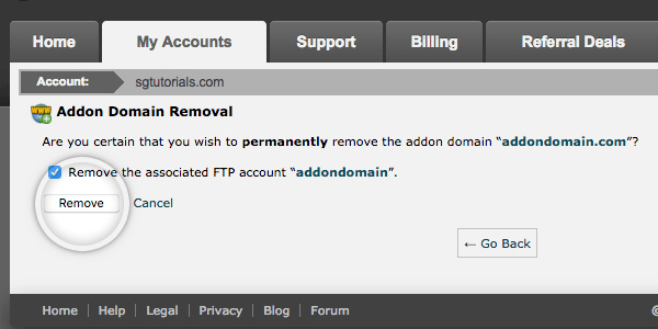 SiteGround Addon Domain Removal