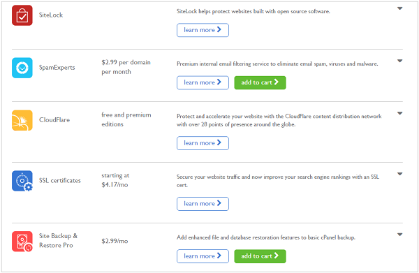 bluehost security options