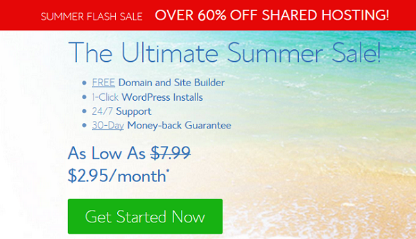 BlueHost Summer Sale 2021 → Up to 66% Big Discounts ($2.95/Mo)