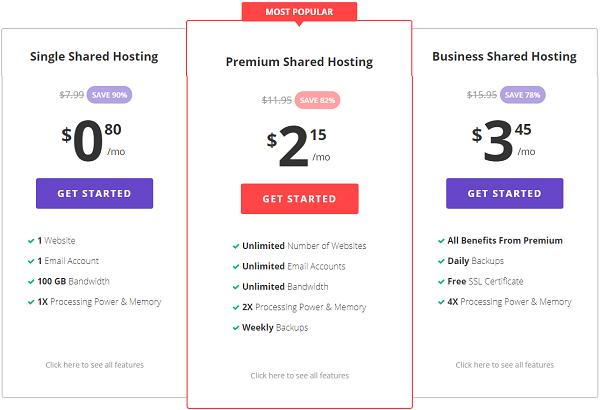 Hostinger Web Hosting Plan